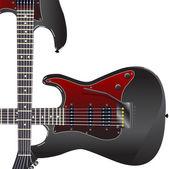 Black electric guitar — Stock Vector