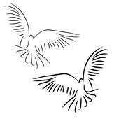 Set of white vector doves. — Stock Vector