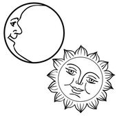 Vector illustration of Moon and Sun with faces — Vettoriale Stock
