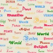 Peace . Seamless wallpaper with the word peace in different lang — Stockvektor