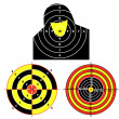Stock Vector: Set targets for practical pistol shooting, exercise.