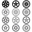 Stock Vector: Automotive wheel with alloy wheels