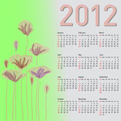 Stylish calendar with flowers for 2012. Week starts on Sunday. — Vettoriale Stock
