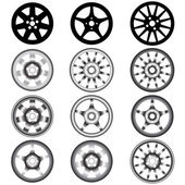 Automotive wheel with alloy wheels — Stock Vector