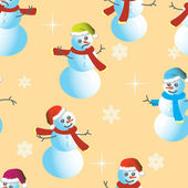 Seamless wallpaper from snowman and snowflakes — Vecteur