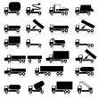 Set of vector icons - transportation symbols. Black on white. C — Stock Vector