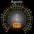 Stock Vector: 2012 year calendar speedometer car in Spanish. August