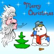 Santa Claus and snowman blows on — Stock Vector
