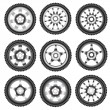 Automotive wheel with alloy wheels — Image vectorielle