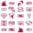 Set of vector silhouettes of icons on the food theme — Stock Vector