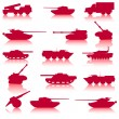 Collection set of tanks of guns — Stock Vector