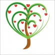 Vector apple tree with red fruits in the form of heart — Векторная иллюстрация