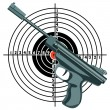 Stock Vector: Firearm, gun against target. vector