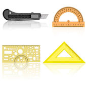 Stationery knife, ruler and protractor — Stock Vector