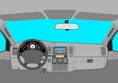 El coche sin conductor en la carretera. — Vector de stock