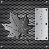 Metalową osłonę Klonowy liść tło z nitami — Wektor stockowy
