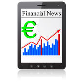 Financial News euro on Tablet PC. Isolated on white. — Stock Vector