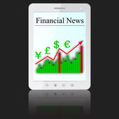 Financial News on white tablet PC computer — Stock Vector