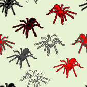 Halloween naadloze patroon met zwarte spinnen — Stockvector