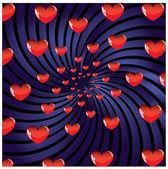 Alla hjärtans prydnad med röd kärlek hjärta vektor illustration — Stockvektor