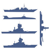 Illustration with four ship silhouette collection — Stockvektor