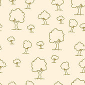 Seamless tree plant pattern background in vector — Stock Vector