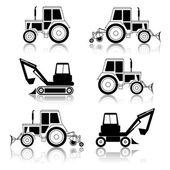 Bulldozer di fine escavatore vettoriale isolato su bianco — Vettoriale Stock