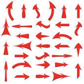 Vector set of red arrows — Stock Vector