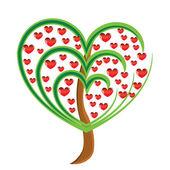 Macieira de vetor com frutos vermelhos em forma de coração — Vetorial Stock