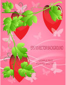 Valentines ornament with red love heart vector illustration — Vector de stock