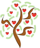 Vector apple tree with red fruits in the form of heart — Stock Vector