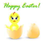 Ilustração de férias da páscoa com galinha senta-se no ovo — Vetorial Stock