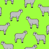 Seamless wallpaper with sheep and rams — Vector de stock