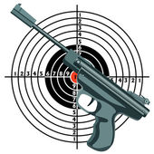 Firearm, the gun against the target. vector — Stock Vector