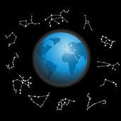 Constellations around the globe vector illustration — Stock Vector