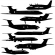 Collection of different aircraft silhouettes. vector illustrat — Stock Vector #36003365