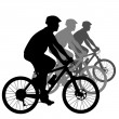 Silhouette of a cyclist male.  vector illustration. — Stock Vector