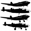 Collection of different combat aircraft silhouettes. vector ill — Stock Vector #36005321