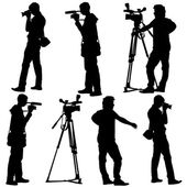 Cameraman with video camera. Silhouettes on white background. Ve — Stockvector