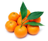 Ripe tangerines or mandarin with leaf isolated on white backgrou — Stock Photo