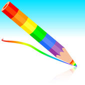 Rainbow pencil , vector illustration. — Stok Vektör