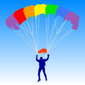 Skydiver, silhouettes a rainbow parachuting vector illustration — Stock Vector