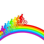 Silhouette of a cyclist a rainbow male. vector illustration. — Stock Vector