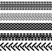 Set of detailed tire prints, vector illustration — Stockvektor