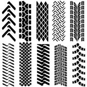 Set of detailed tire prints, vector illustration — Stok Vektör
