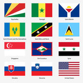 Set Flags of world sovereign states. Vector illustration. Set n — Stock Vector