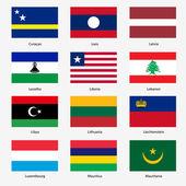 Set Flags of world sovereign states. Vector illustration. Set n — Vetor de Stock