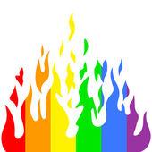 Burn flame fire rainbow colors — Stock Vector