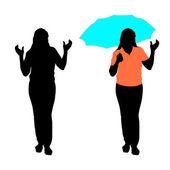 Silhueta de menina com um guarda-chuva. — Vetorial Stock