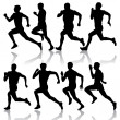 Stock Vector: Set of silhouettes. Runners on sprint, men. vector illustration.